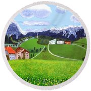 Round Beach Towel featuring the painting Beautiful Norway by Magdalena Frohnsdorff