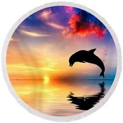 Beautiful Ocean And Sunset With Dolphin Jumping Round Beach Towel