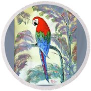 Round Beach Towel featuring the painting Beautiful Parrot For Someone Special by Phyllis Kaltenbach