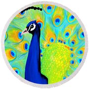 Beautiful Peacock Card Round Beach Towel