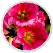 Beautiful Pink Hollyhock Round Beach Towel