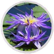 Beautiful Purple Lilies Round Beach Towel by Chrisann Ellis