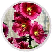 Beautiful Red Hollyhock Round Beach Towel