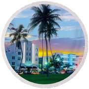 Beautiful South Beach Round Beach Towel by Jon Neidert