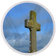Beautiful Stone Cross In Ireland Round Beach Towel