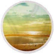 Beautiful Sunset At The Hikkaduwa Beach Round Beach Towel