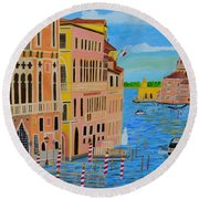 Round Beach Towel featuring the painting Beautiful Venice by Magdalena Frohnsdorff