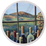 Round Beach Towel featuring the painting Beautiful View by Donna Tuten