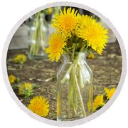Beauty Among The Weeds Round Beach Towel