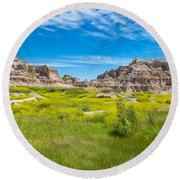 Round Beach Towel featuring the photograph Beauty And The Badlands by John M Bailey