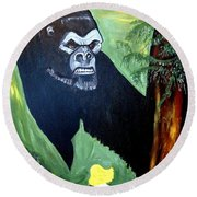 Round Beach Towel featuring the painting Beauty And The Beast by Nora Shepley