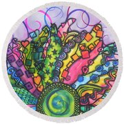 Round Beach Towel featuring the painting Beauty Comes Out by Chrisann Ellis