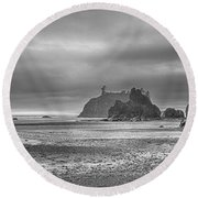 Beauty In Grey Round Beach Towel by James Heckt