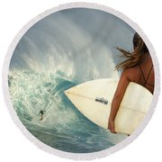 Surfer Girl Meets Jaws Round Beach Towel by Bob Christopher