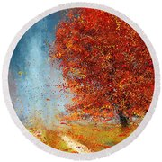 Beauty Of It- Autumn Impressionism Round Beach Towel by Lourry Legarde