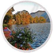Beauty Of Lake Lugano Round Beach Towel