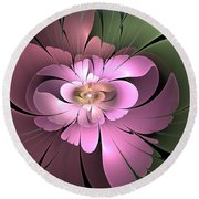 Beauty Queen Of Flowers Round Beach Towel