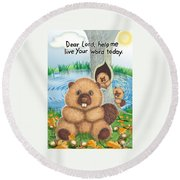 Beaver Round Beach Towel