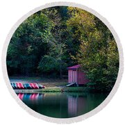 Beavers Bend Reflection Round Beach Towel