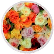 Bed Of Roses Round Beach Towel by Tony Grider