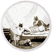 Round Beach Towel featuring the photograph Bed Time For Kitty Cats Histrica Photo Circa 1900 by California Views Mr Pat Hathaway Archives
