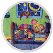 Bedtime Mouse Round Beach Towel