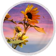Round Beach Towel featuring the photograph Bee A Sunflower by Aaron Berg