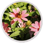 Round Beach Towel featuring the photograph Bee At Work by Mary Carol Williams