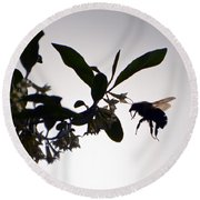 Round Beach Towel featuring the photograph Bee In Flight  by Kerri Farley