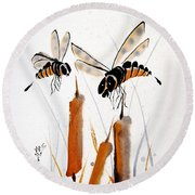 Round Beach Towel featuring the painting Bee-ing Present by Bill Searle
