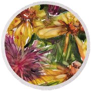 Beebalm And Heliopsis Round Beach Towel by Judith Levins