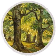 Round Beach Towel featuring the painting Beeches In The Park by Sorin Apostolescu