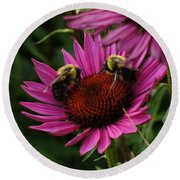 Round Beach Towel featuring the photograph Beelievers by Lingfai Leung