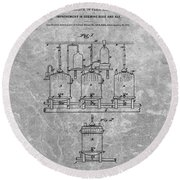 Beer Brewery Patent Charcoal Round Beach Towel