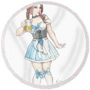Beer Girl Round Beach Towel