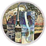 Round Beach Towel featuring the mixed media Beer On Tap by Ally  White