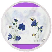 Bees At Lunch Time Round Beach Towel