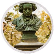 Beethoven In Central Park Round Beach Towel