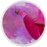 Beetle On A Rose Round Beach Towel by Betty LaRue