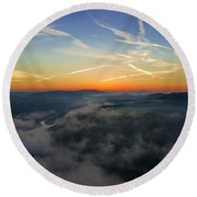 Before Sunrise On The Lilienstein Round Beach Towel
