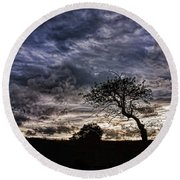 Nova Scotia's Lonely Tree Before The Storm  Round Beach Towel