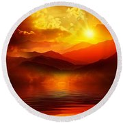 Before The Sun Goes To Sleep Round Beach Towel