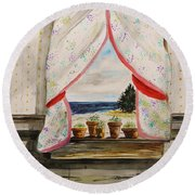 Round Beach Towel featuring the painting Beginnings by John Williams
