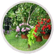 Begonias On Line Round Beach Towel by Ausra Huntington nee Paulauskaite