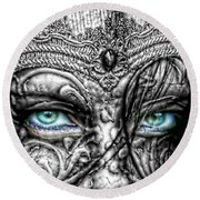Behind Blue Eyes Round Beach Towel