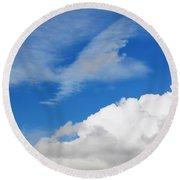 Behind The Clouds Round Beach Towel by Susan Wiedmann