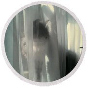 Round Beach Towel featuring the photograph Behind The Curtain by Jacqueline McReynolds