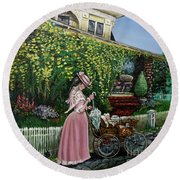 Behind The Garden Gate Round Beach Towel by Linda Simon