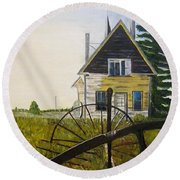 Round Beach Towel featuring the painting Behind The Old Church by Marilyn  McNish