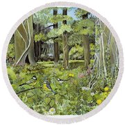 Behind The Squires, Devon Acrylic On Paper Round Beach Towel